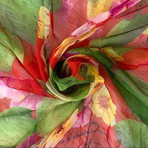 Dolce & Gabbana Cactus Flower Print Silk Scarf